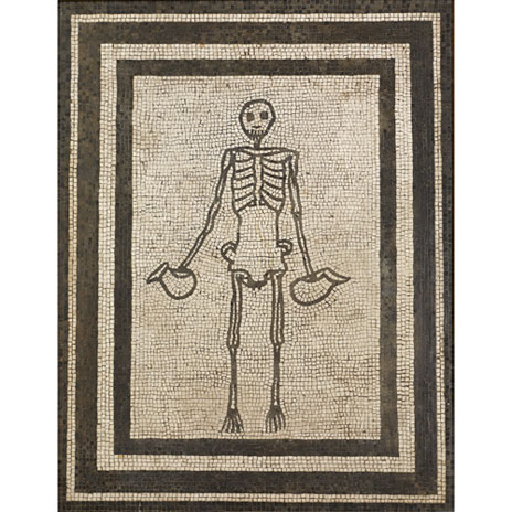 Mosaic Showing A Skeleton Holding Two Wine Jugs Askoi Brimus467 Productlarge