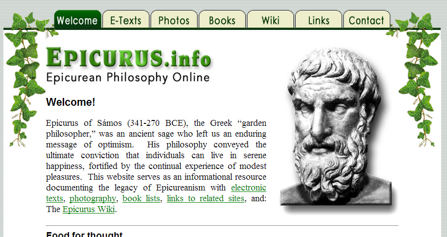 the views and philosophies of epicurus on living the good life Which is to live in a pleasure life according to epicurus, a good life epicurus ideas of living in a good life views on the best life epicurus.